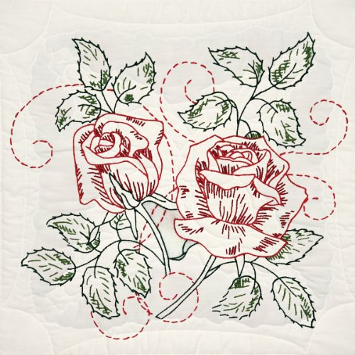 - Fairway 98106 Quilt Blocks, Rose Delight Design, White, 6 Blocks Per Set