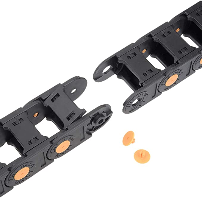 uxcell Drag Chain Cable Carrier Open Type with End Connectors R55 25X57mm 1 Meter Plastic for Electrical CNC Router Machines