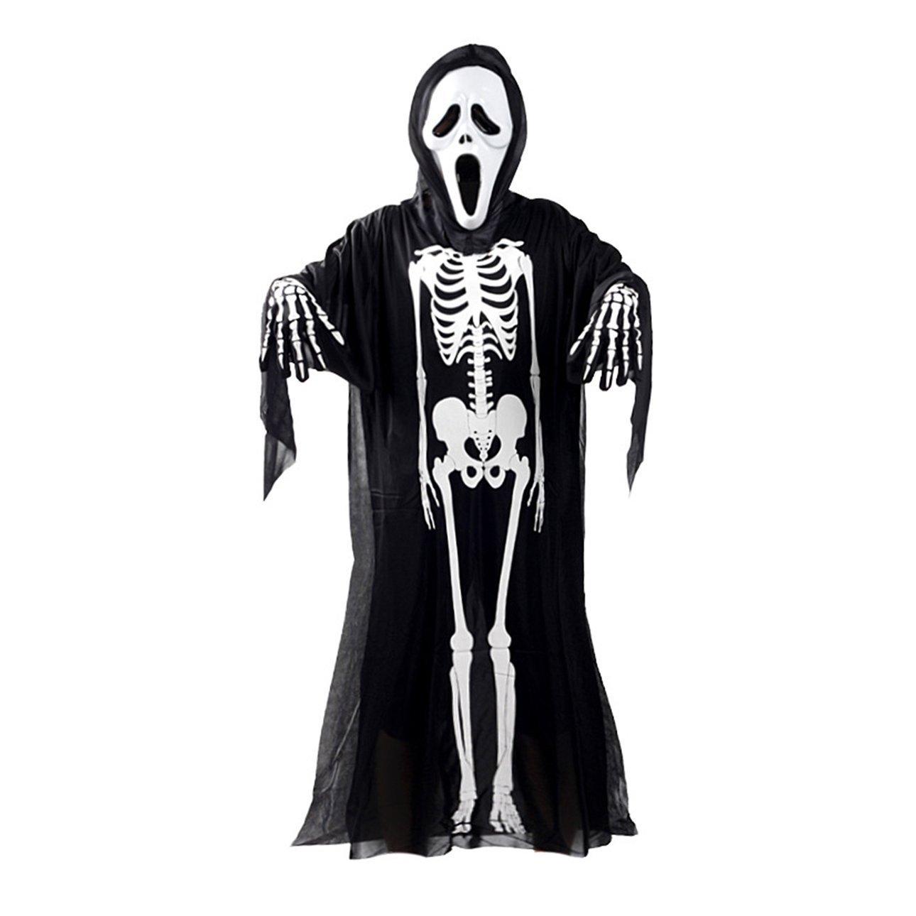 Ballylelly Skull Squelette Fantôme Cosplay Costume Adultes Enfants Halloween Carnaval Mascarade Déguisement Vêtements + Crâne Diable Masque + Gants (Noir et Blanc - Adulte)