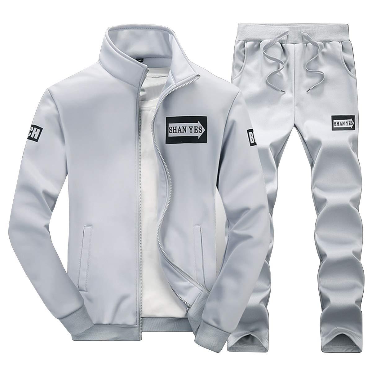 Cocrao Survêtement Homme 2 Pièces Ensemble à Manches Longues Zippé Garçon Jogging Sport Décontracté Veste+Pantalon Blanc et Noir Imprimé