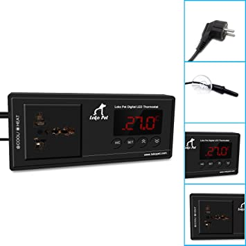 LEKO Pet digital de termostato para Reptil, tortuga, lagarto, inkubator, mascotas, Acuario, terrarios, Combi, Suelo radiante: Amazon.es: Productos para ...