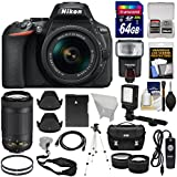 Nikon D5600 Wi-Fi Digital SLR Camera 18-55mm VR & 70-300mm DX AF-P Lenses + 64GB Card + Case + Flash + Battery + Tripod + Tele/Wide Lens Kit