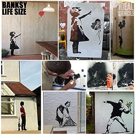 S// 14X26CM Nola Ombrelle Rain Fille Pochoir Banksy semi transparent pochoir R/éutilisable D/écor Maison /& Art Artisanat Peinture Pochoir