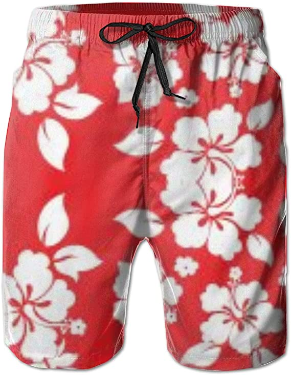 Hawaii Hangover Mens Swim Trunk in All Over Floral Print in Red