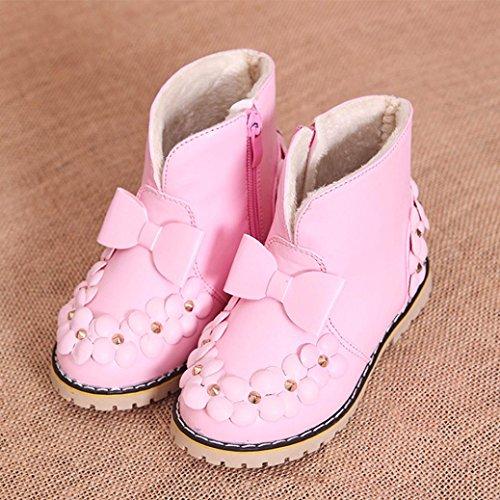 HUHU833 Kinder Mode Jungen Mädchen Stiefel Bowknot Blumen Martin Stiefel Winter Warm Boots Kinder Schuhe Casual Snow Boots Schuhe Rosa