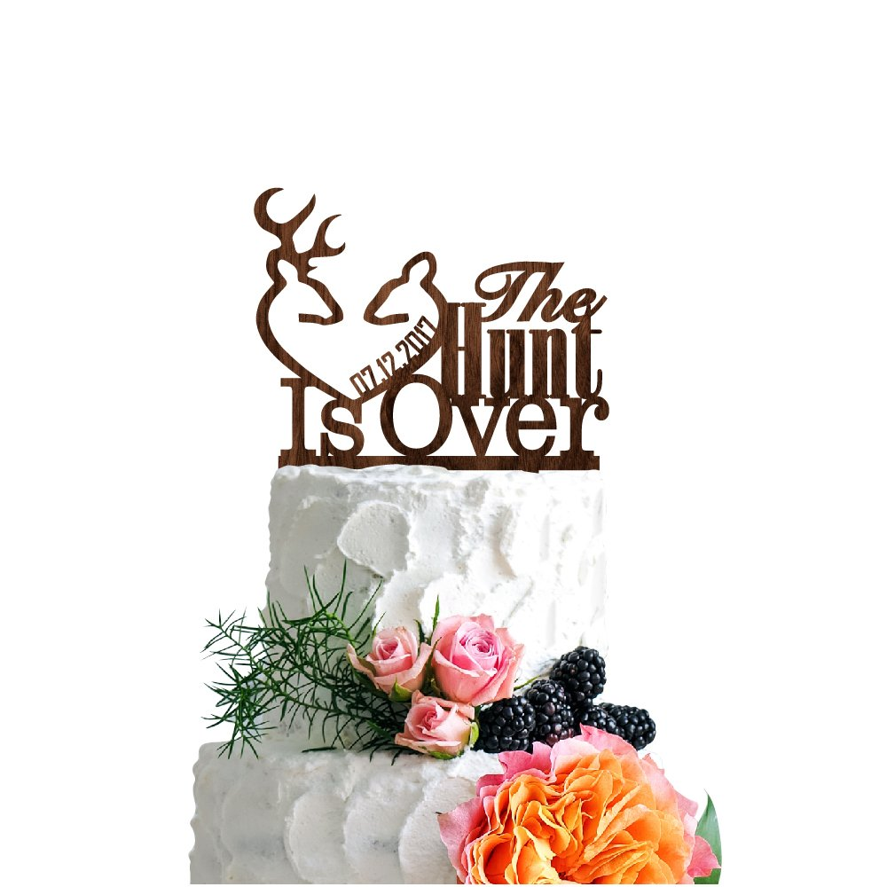 P Lab Personalized Cake Topper The Hunt Is Over Date Custom Wedding Cake Topper Rustic Wood Decoration Keepsake Engagement Favors for Special Event Walnut Wood