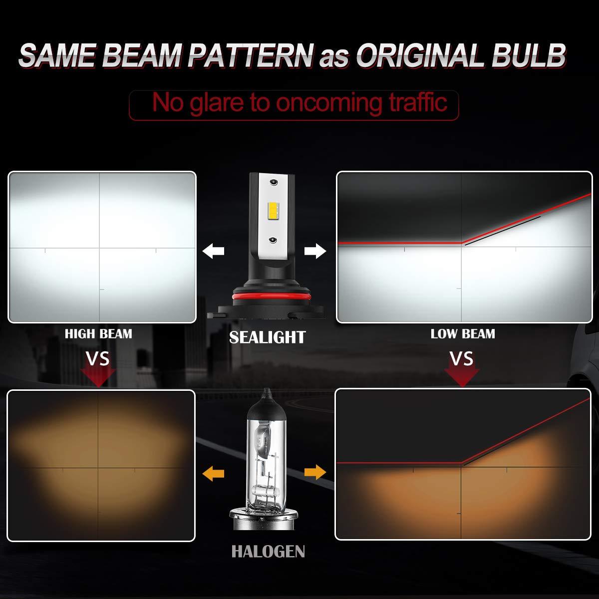 2 Pack SEALIGHT H13//9008 LED Headlight Bulbs DOT Approved X1SS Series Dual High//Low Beam 9600 Lumen Super Bright 6000K Cool White