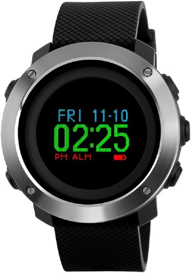 Mens Digital Sports Watches Multifunctional Large Military 50M Waterproof LED Alarm Backlight Super Cool Watch