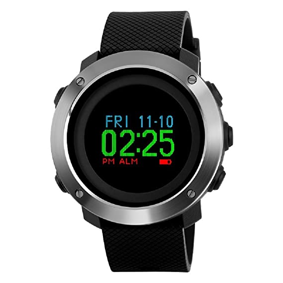 Relojes multifunción de brújula deportiva podómetro, Farsler Calorías Calculación Dual Time Digital Watch, reloj de correr 50 m impermeable pantalla de ...