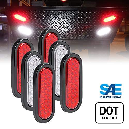 4 RED + 2 White 6 Oval (24) LED Trailer Tail Light Kit - DOT Certified Stop Turn Brake Reverse Back UP Tail Light