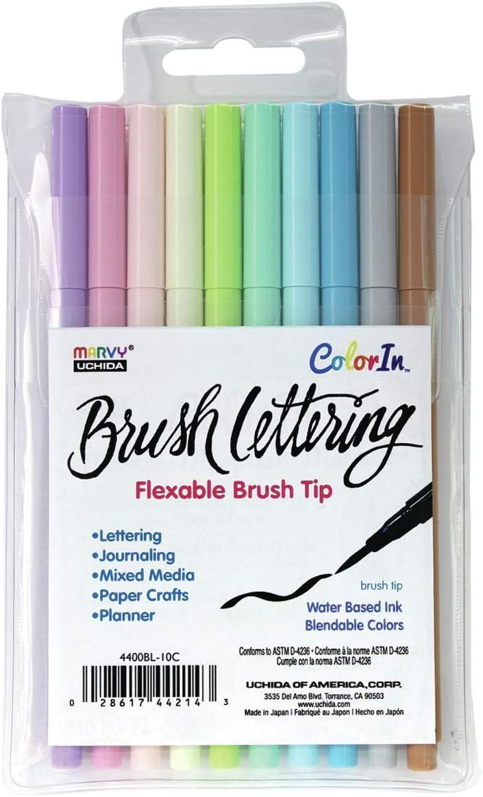 Uchida 4400BL-10C Brush Lettering Set 10//Pkg-Pastel