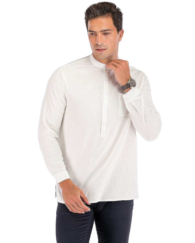 Jacansi Mens Loose Cotton Tunic Casual Beach Long Sleeve V Neck Henley Tops