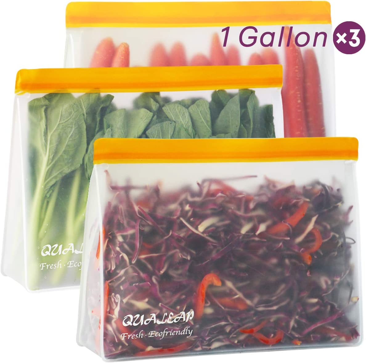 Stand-Up Reusable Storage Bags (1 Gallon, Set of 3) - Leakproof Ziplock Gallon Freezer Bags for Sandwich, Snack, Meat, Vegetables, Fruit etc.