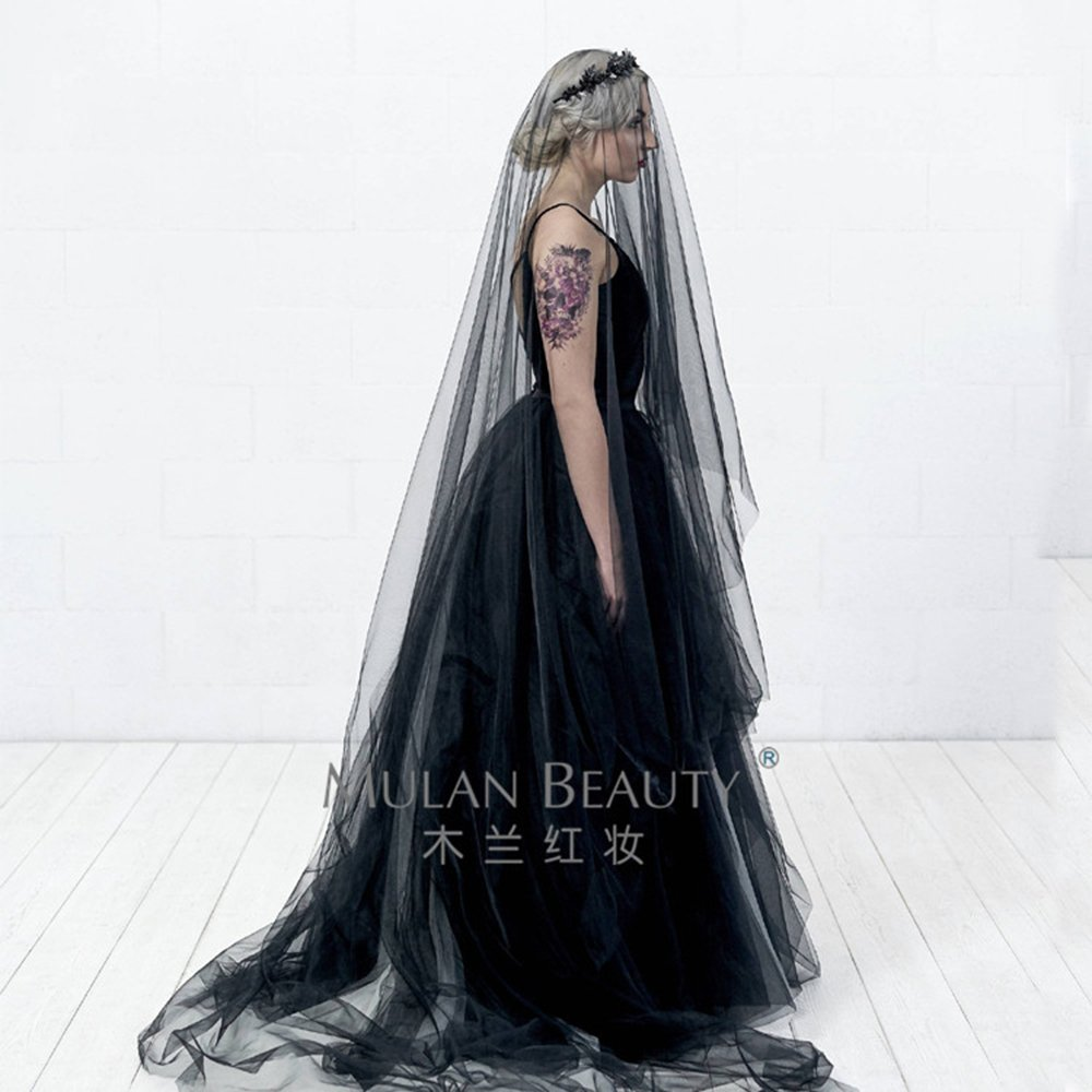 Black veil girl sexy veil wedding accessories Long paragraph at Amazon Womens Clothing store: