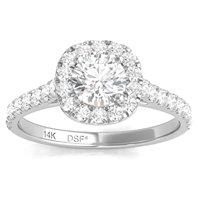 c4bb8d64e Diamond Studs Forever 14ct White Gold 1ct Total Weight Diamond Halo  Engagement Ring GH/I1: Amazon.co.uk: Jewellery