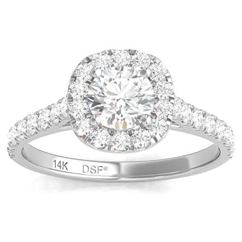 e5355ca90ba7c 1.00 Carats Total Weight Diamond Halo Engagement Ring GH/I1 14K ...