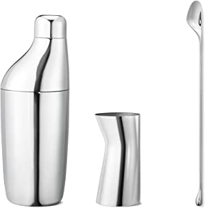 Georg Jensen Sky Stainless Steel Cocktail Shaker Set with Accessories, 17oz, Stianless Steel, Cocktail Kit, Barware