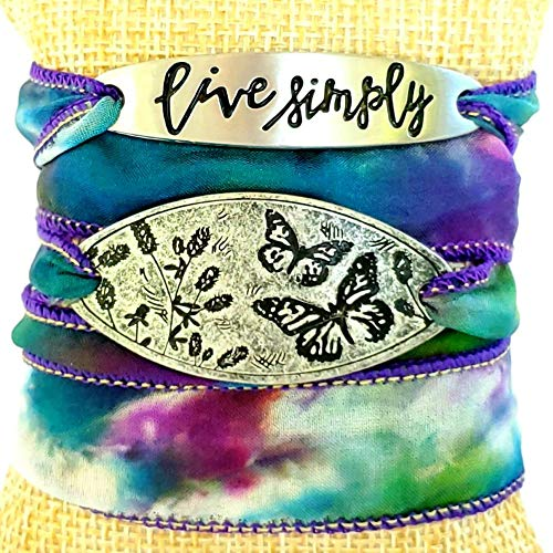 Live Simply Butterfly Silk Ribbon Wrap Bracelet for Women Mantra Jewelry Butterfly Gifts