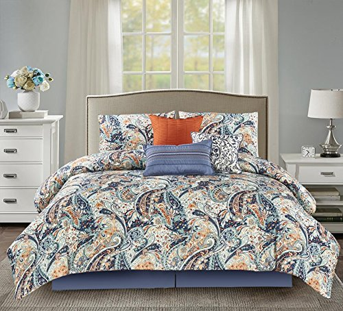 "Wonder-Home 7 Piece Paisley Design Comforter Set, Luxury Oversized Blue and Orange Bedding Set with Shams, Dec Pillows, Bedskirt, Queen, 92""x96"" -  - comforter-sets, bedroom-sheets-comforters, bedroom - 61xHA63JBmL -"