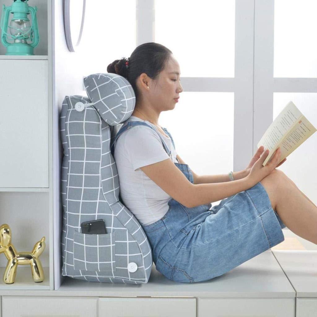 RDMZ Cotton Sofa Cushion Pillow Bed Backrest Big Triangle Office Waist Back Cushion Bed Pillow Neck Pillow Removable&Washable,2 Sizes& 2 Colors (Color : C, Size : 45x30x55cm)