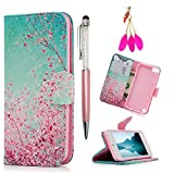 iPod Case iPod Touch 5 Case -MOLLYCOOCLE[Pink Cherry Blossoms]Stand Wallet Purse Credit Card ID Holders TPU Soft Bumper Premium PU Leather Ultra Slim Fit Cover for iPod Touch 5 5th Generation