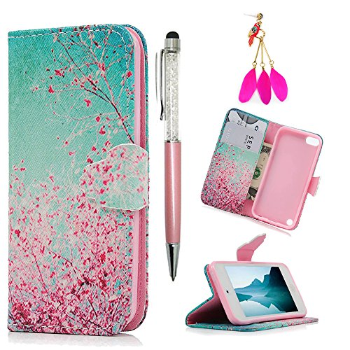 iPod Case iPod Touch 5 Case -MOLLYCOOCLE[Pink Cherry Blossoms]Stand Wallet Purse Credit Card ID Holders TPU Soft Bumper Premium PU Leather Ultra Slim Fit Cover for iPod Touch 5 5th Generation (Ipod Cover For 5th Generation)