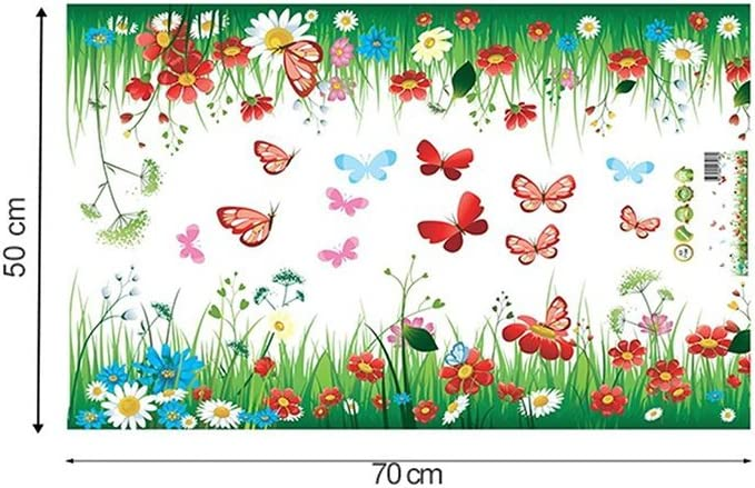 Baseboard Children/'s Bedroom Green Grass Meadow Wall Art Stickers with Colourful Flowers /& Butterflies Removable DIY Vinyl Wall Decal Multicoloured Decorative Mural for Living Room