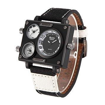 SW Watches Oulm Reloj para Hombre Analogico De Cuarzo,3 Zonas De Tiempo Mostrar Relojes Cuadrados con Correa De Piel 3595 Blanco,Black: Amazon.es: Hogar