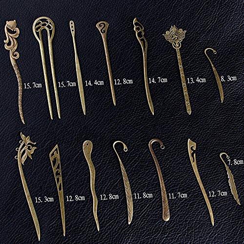 EKLOEN Mixed Designs of Antiqued Bronze Colour Elegant Metal Bookmark [Set of 14]
