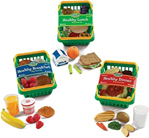 Learning Resources Pretend & Play Healthy Foods Set, 3 Baskets of Plastic Play Food, Ages 3+
