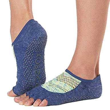 Toesox Grip Pilates Barre Socks-Non Slip Luna Half Toe For Yoga & Ballet Calcetines, Mujer