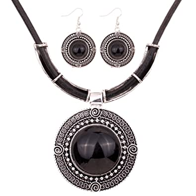 Yazilind PU Leather Chain Tibetan Silver Round Turquoise Pendant Bib Necklace Earrings Set qDodQlWqeY