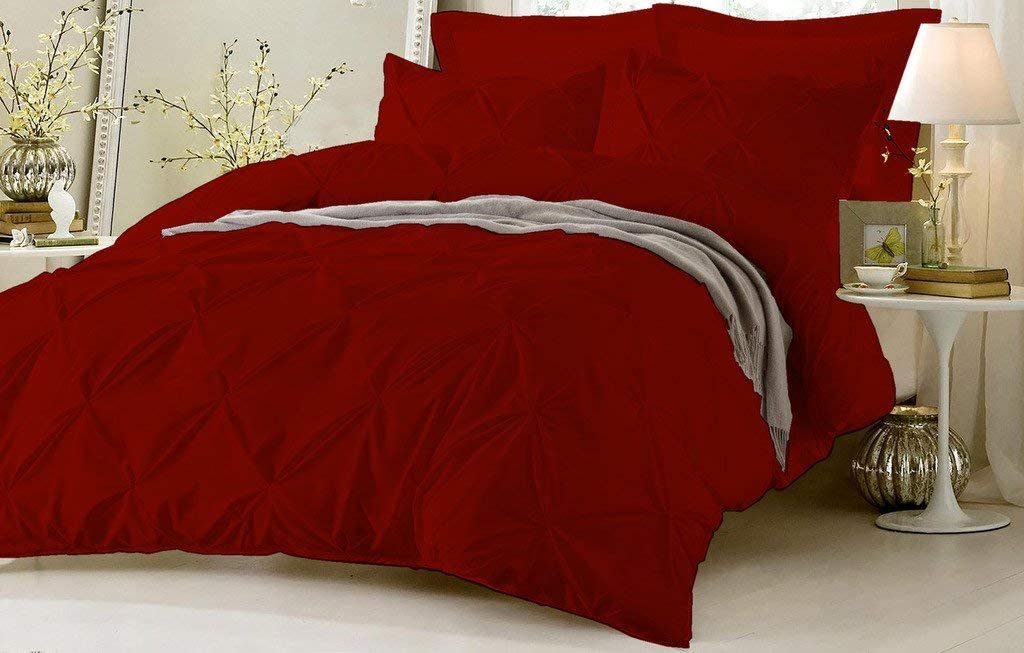 HR Luxury Linen Soft Luxurious 1-Piece Pinch Pleated Pintuck Decorative Quilt Duvet Cover with Corner Ties 100/% Cotton 400 Thread Count Comforter Cover Twin//Twin XL, Burgundy
