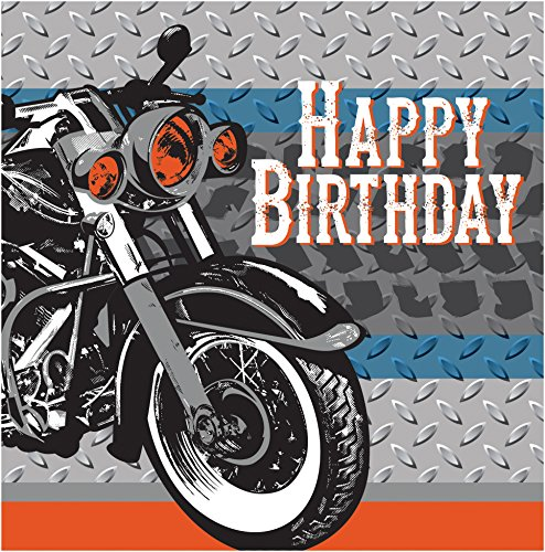 Creative Converting 16 Count 3 Ply Happy Birthday Cycle Shop Lunch Napkins, Silver/Blue/Orange (Motorcycle Party Napkins)