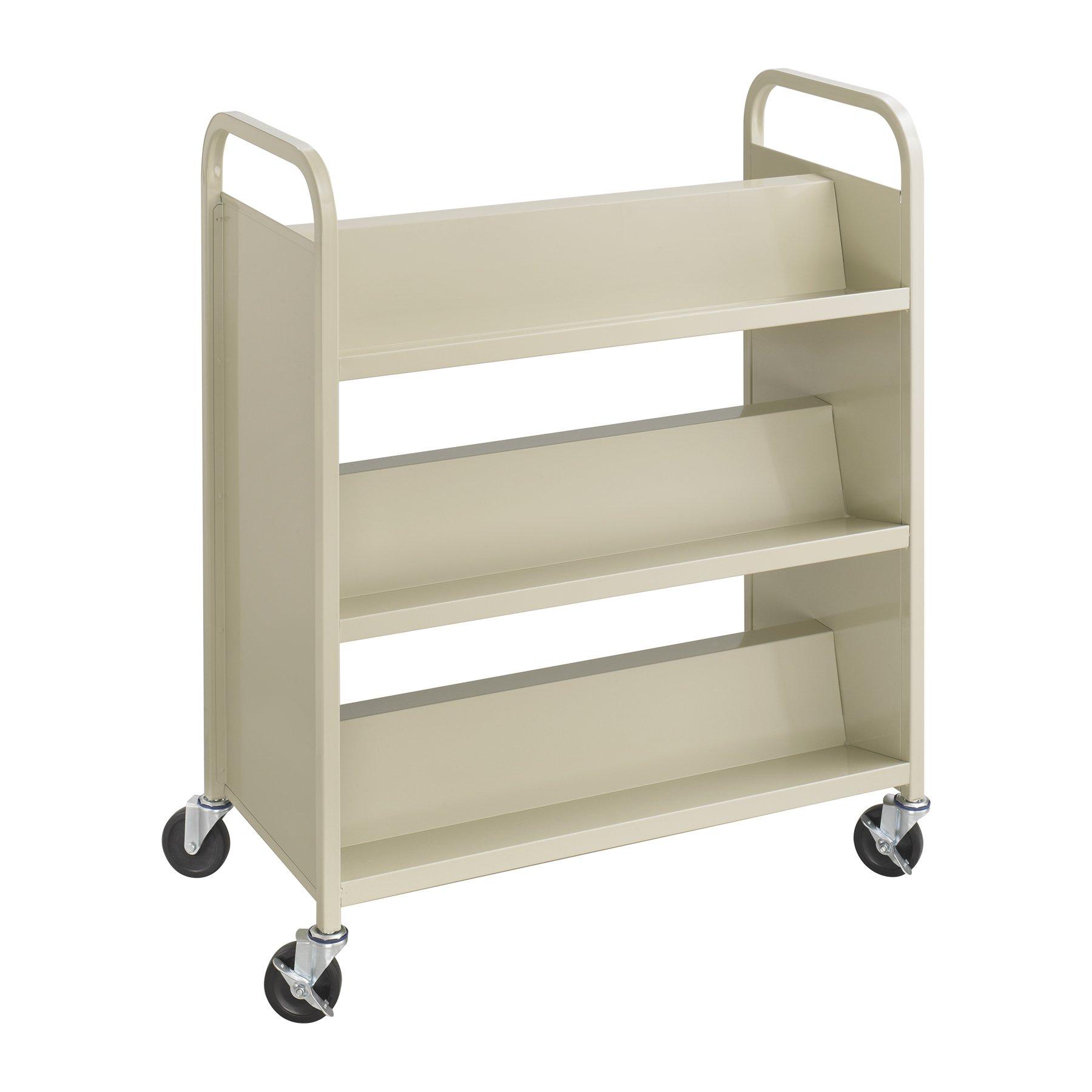 Safco Products 5357SA Steel Double-Sided Book Cart, 3 Shelves On Each Side, Sand by Safco