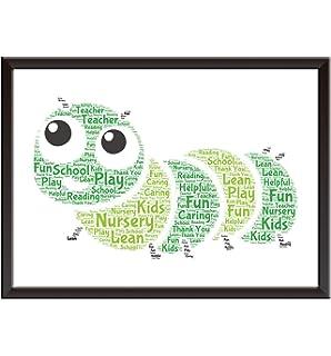 Personalised Word Art Owl Print Pre School Nursery Teacher Thank You Gift