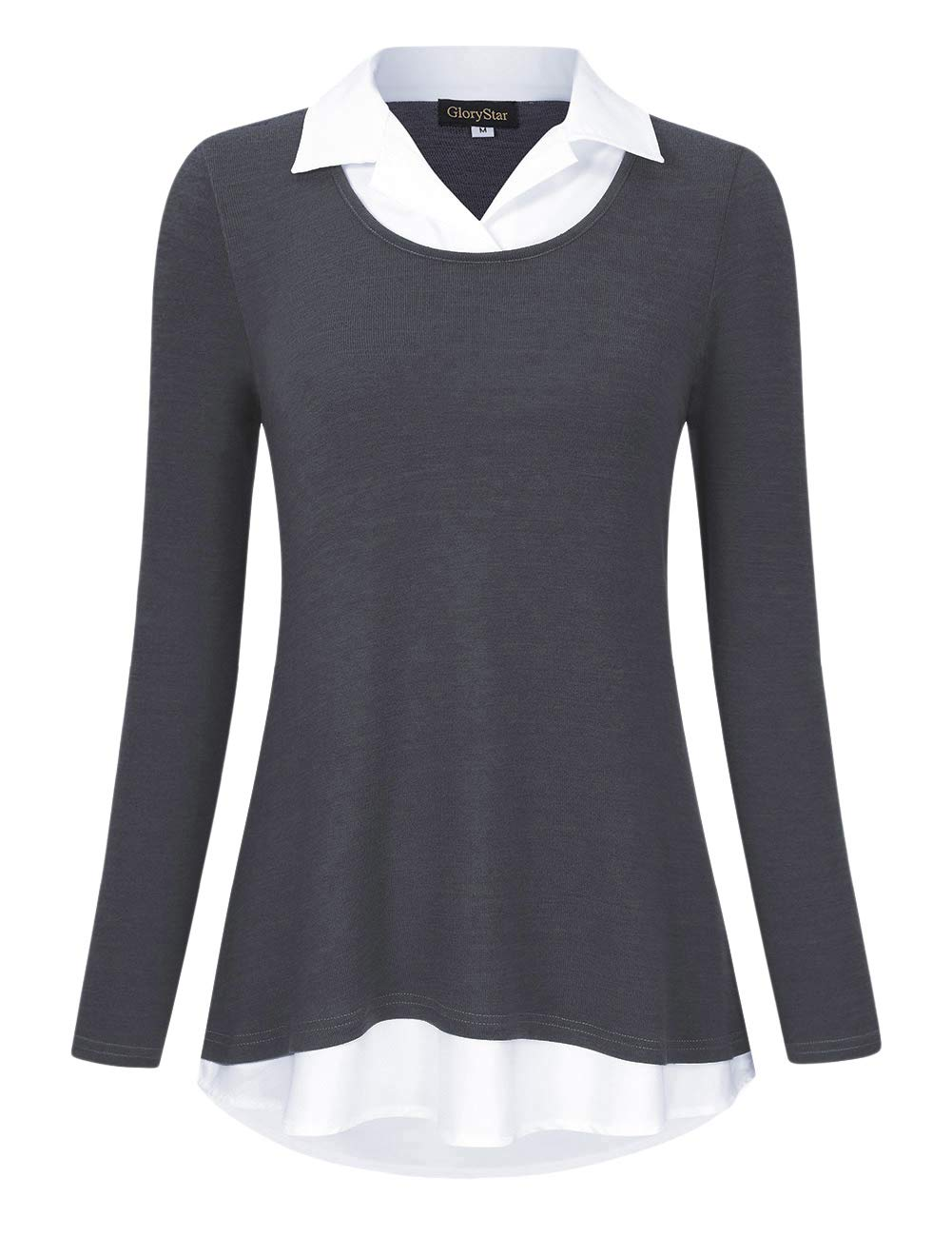 e5e3b070ebb GloryStar Women's Long Sleeve Contrast Collared Shirts Patchwork Work  Blouse Tunics Tops product image