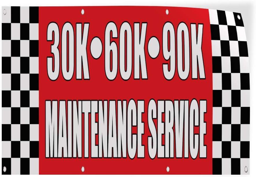 58inx38in Set of 2 Decal Sticker Multiple Sizes 30K 60K 90K Maintenance Service Business 30K Service Maintenance Outdoor Store Sign Blue