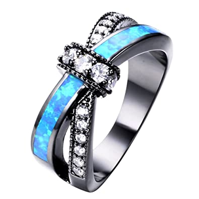 Amazoncom Adeser Jewelry Womens Lab Blue Opal and White Opal