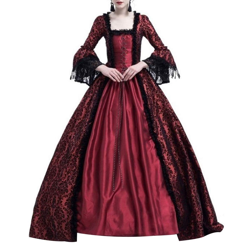 dwqPA#Pi Medieval Renaissance Queen Ball Gown Vintage Women Bell Sleeve Maxi Dress Halloween Costume Wine Red XXL