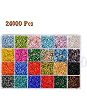 WOWOSS 24 Kleur Glas Zaad Kralen voor Crafting 24000Stks Kleine Glas Kralen voor Sieraden Maken Gemengde Kleur Mini Zaad Kralen met Doos