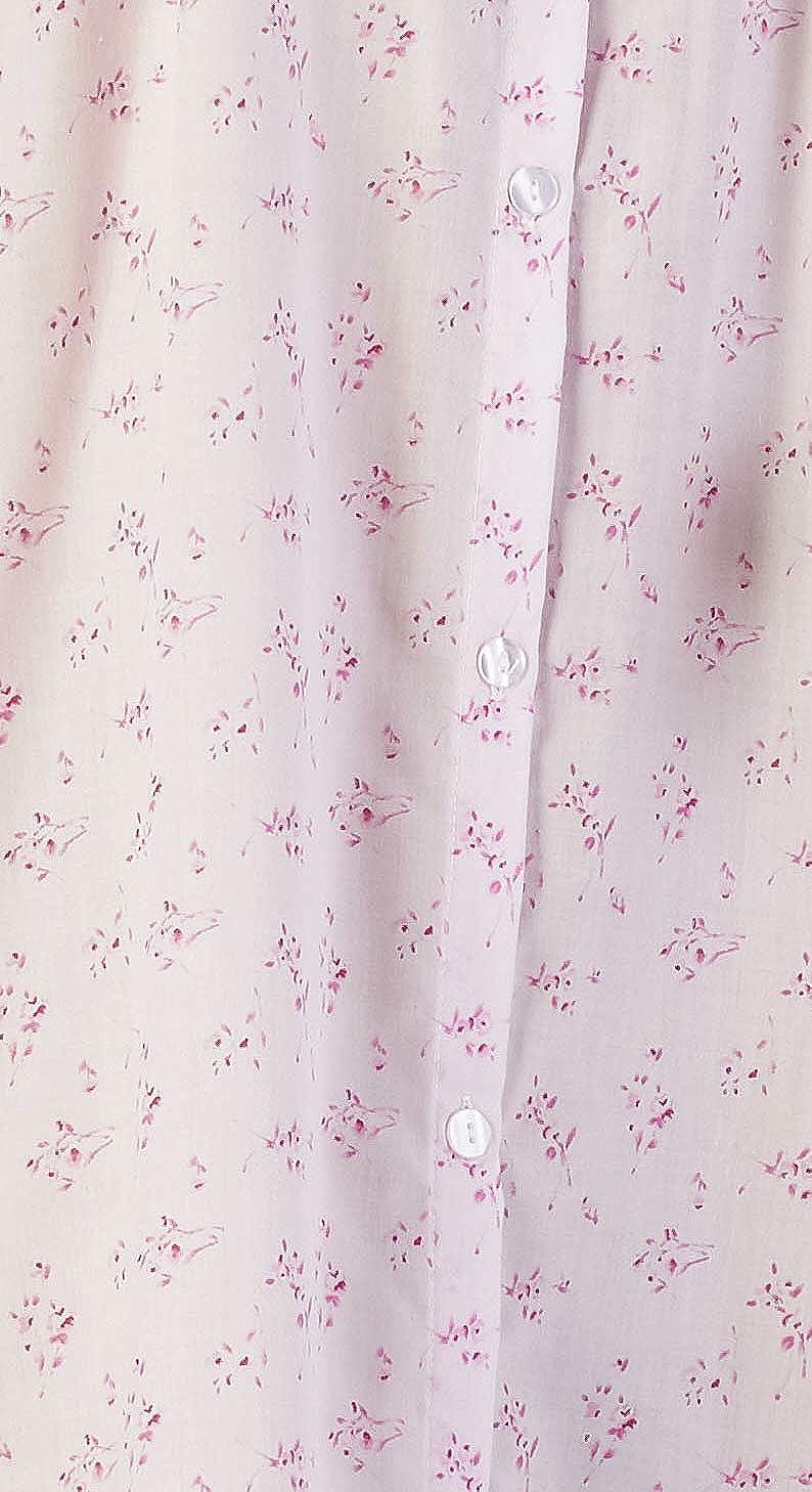 Camicia da Notte da Donna Manica Lunga da 46// 116 cm in Cotone Poliestere con Stampa Floreale a Otto Bottoni Taglia Piccola Media Grande XL XXL XXXL Slenderella