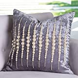 Global Views French Country Modern Velvet Strands of Pearls Powder Room Pillow