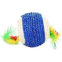 Fliyeong 1 STÜCKE Natürliche Doppel Loch Katze Hanf Ball Spielzeug mit Feder Kätzchen Roll Scratch Spielzeug Haustier Kauen Spielzeug Interaktive Liefert Zufällige Farbe