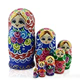 IUMÉ Russian Nesting Dolls Matryoshka Wood Stacking Nested Semenov Wooden Handmade Toys The Best Gift for Children Kids Christmas Mother's Day Birthday Home Room Decorat Halloween Wishing Gift 7 PCS