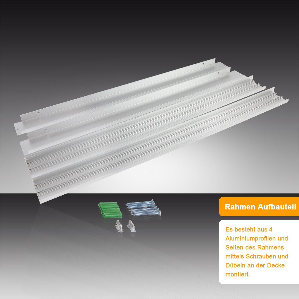 und Deckenmontage Aluminium Silber 120x30cm LED Panel Aufbaurahmen//Aufputz-Rahmen f/ür Wand