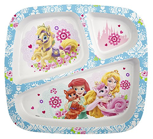 Belle Dinnerware (Zak! Designs 3-Section Plate featuring Disney Palace Pets Graphics, Break-resistant and BPA-free Plastic)