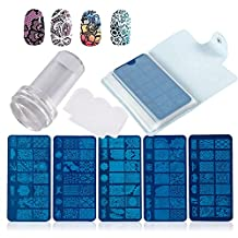 DIY Nail Art Tool Kit, 10pcs Metal DIY Nail Art Polish Plates + Transparent Nail Polish Transfer Stamper wirh Scraper + 24 Slots Template Holder Storage Bag Case Manicure Printing Tool Set (Blue)