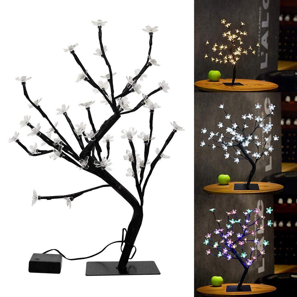 Supertop 45cm 48LEDs Albero luci in piedi a pile albero di ciliegio luce da tavolo luce gioielli titolare di decorazioni per la casa festa di nozze di natale