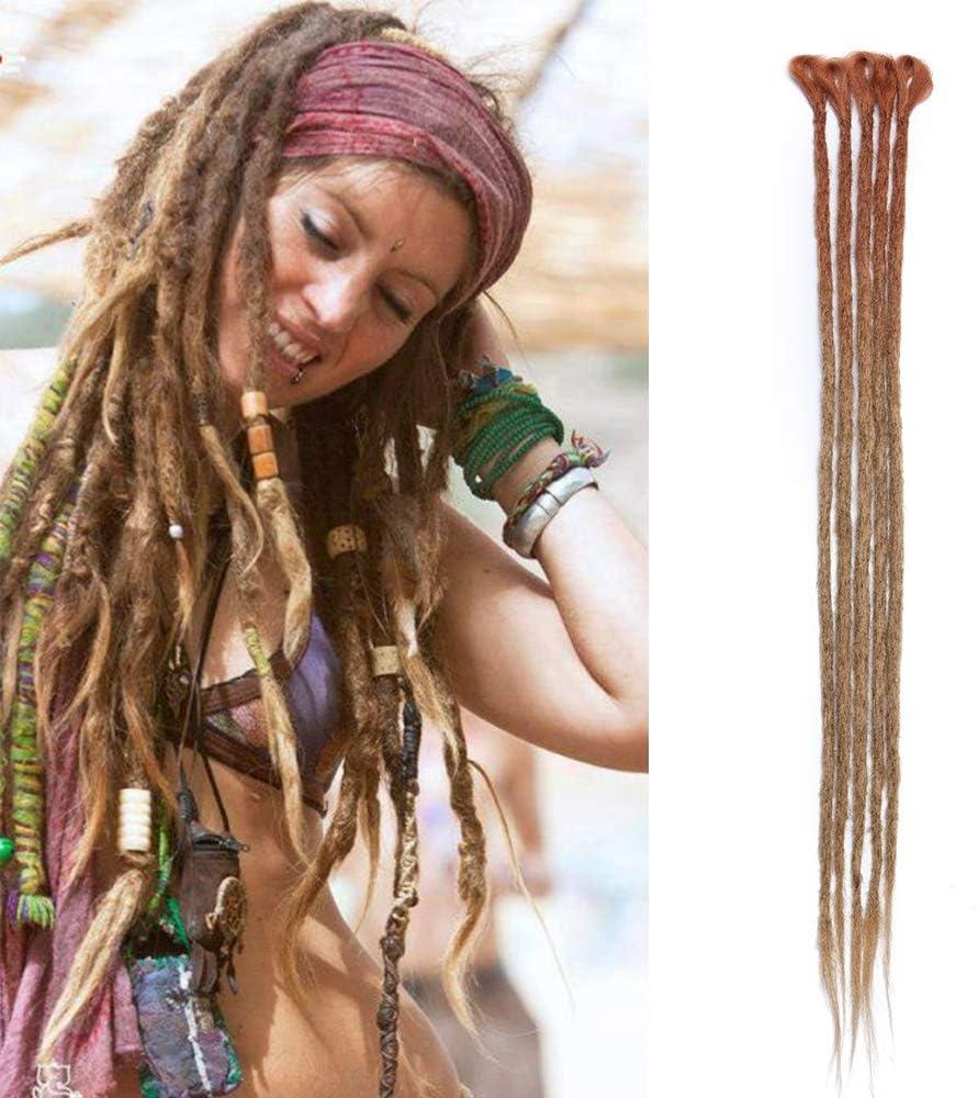 Dreadlock Extension Braids Sintético Fake Hair Dread Braid Rasta para mujeres Hombres Trenzas Cabello largo 60cm, Paquete de 5, Auburn Brown/Light Brown